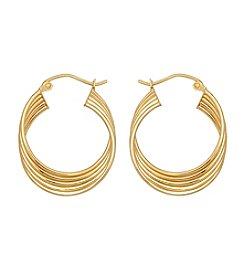 12K Yellow Gold Row Tube Hoop Earrings
