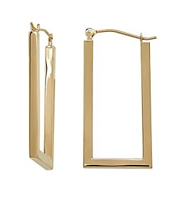 14K Yellow Gold Rectangular Shaped Hoop Earrings
