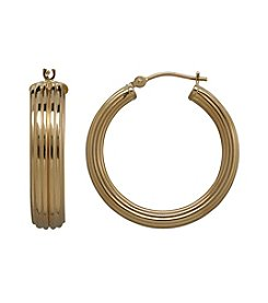 14K Yellow Gold Polished Grooved Hoop Earrings