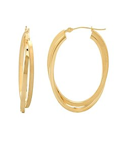 14K Gold Satin Finish Square Oval Hoop Earrings