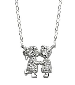 Boy and Girl Kissing Necklace in Sterling Silver