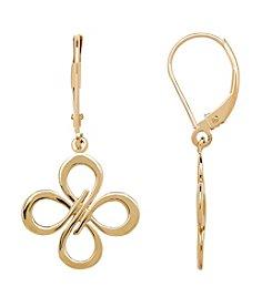 10K Yellow Gold Polished Open Flower Drop Earrings