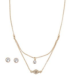 Nine West Vintage America Collection® Goldtone Small Double Pendant Necklace with Evil Eye Charm and Stud Earrings