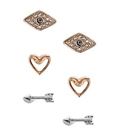 Nine West Vintage America Collection® Set of Three Stud Silvertone Plated Arrow, Goldtone Plated Heart, and Glass Crystal Ev