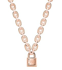 Michael Kors® Rose Goldtone Logo Padlock Toggle Necklace