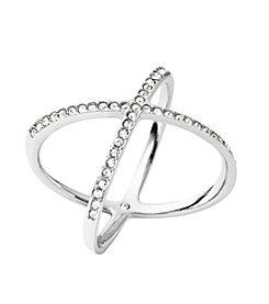 Michael Kors® Silvertone X Ring