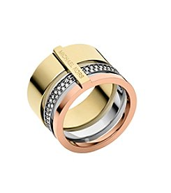 Michael Kors® Tri-Tone Stack Open Barrel Ring