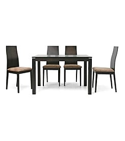 Baxton Studios Calhoun Dark Brown 5-Piece Modern Dining Set