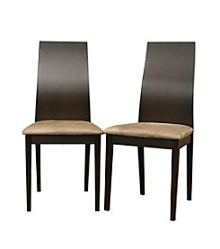 Baxton Studios Calhoun Dark Brown Modern Set of  Dining Chairs