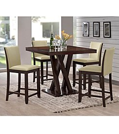 Baxton Studios Everdon Dark Brown 5-piece Modern Pub Table Set
