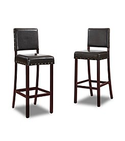 Baxton Studios Walter Dark Brown Modern Set of Bar Stools