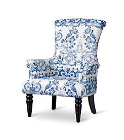 Baxton Studios Kimmett Blue and White Linen Floral Accent Chair