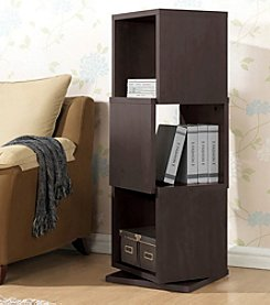 Baxton Studios Ogden Dark Brown 3-Level Rotating Modern Bookshelf