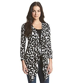 Joan Vass® Drape Front Animal Print Cardigan