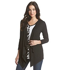 Joan Vass® Draped Front Solid Cardigan
