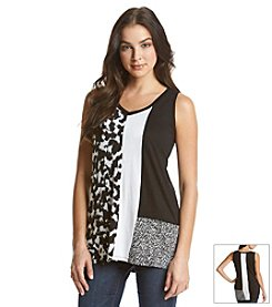 Joan Vass® Sleeveless Tunic With Contrast Panels