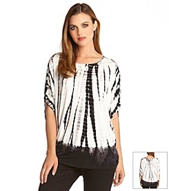 Karen Kane® Gathered Sleeve Tie Dye Print Top