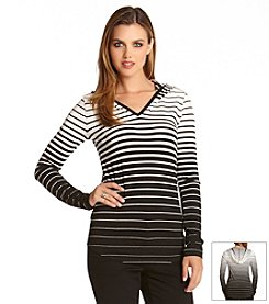 Karen Kane® Striped V-Neck Hoodie