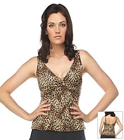 Roxanne® Luxurious Leopard Twist Tankini Swim Top