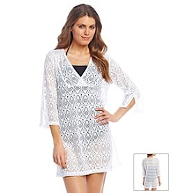 Jantzen® Crochet Three Quarter Length Sleeve Tunic Coverup