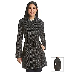 London Fog® Single Breasted Polka Dot Trench Coat