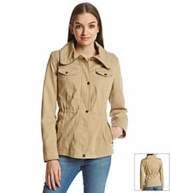 Guess Cotton Drawstring Collar Anorak Jacket