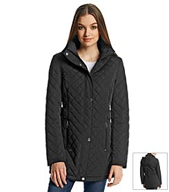 Calvin Klein Hooded Quilt Coat With Side Tabs