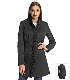 DKNY® Ruffle Front Walker Coat