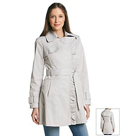 Jessica Simpson Ruffle Front Trench Coat