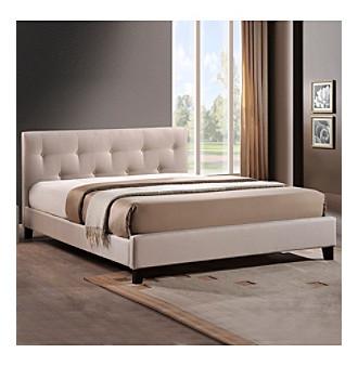 Baxton Studios Annette Light Beige Modern Full Bed with Upho
