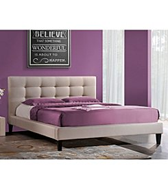 Baxton Studios Quincy Light Beige Queen Platform Bed