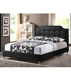 Baxton Studios Carlotta Black Modern Bed with Upholstered Headboard