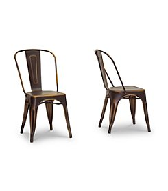 Baxton Studios French Industrial Set of 2 Bistro Chairs in Antiqued Copper