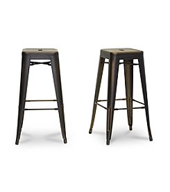 Baxton Studios French Industrial Modern Antique Copper Set of 2 Counter Stools