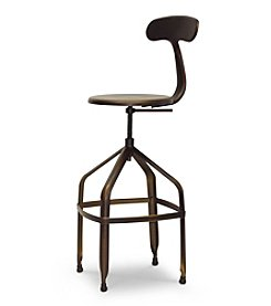 Baxton Studios Architect's Industrial Bar Stool with Backrest in Antiqued Copper