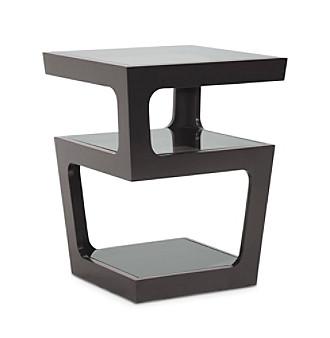 Baxton Studios Clara Black Modern End Table with 3-Tiered Gl