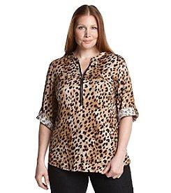 Calvin Klein Plus Size Leopard Print Zip Front Knit