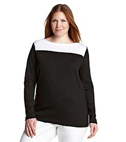 Lauren Ralph Lauren® Plus Size Color-Blocked Bateau-Neck Shirt
