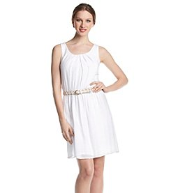 AGB® Woven Dress With Braided Belt