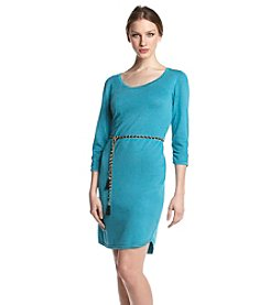 NY Collection Chain Belt Sweater Dress