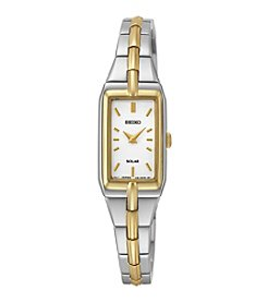 Seiko Women's Two-Tone White Dial Solar Dress Watch
