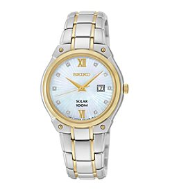 Seiko Women's Two-Tone Diamond Dial Solar Dress Watch