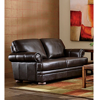Chateau d'Ax Malone Roll Arm Brown Leather Living Room Furniture Collection Loveseat