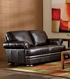 Chateau D'Ax Malone Rollarm Brown Leather Loveseat