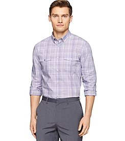 Calvin Klein Men's Liquid Cotton Plaid Long Sleeve Woven