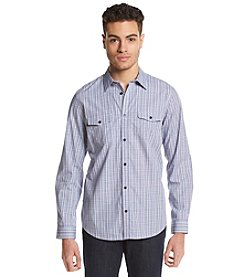 Calvin Klein Men's High Low Cord Dobby Plaid Woven