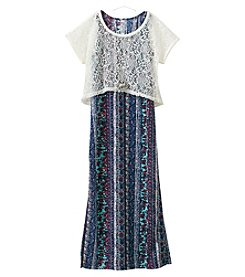 Beautees Girls' 7-16 Print Maxi Dress With Crochet Popover