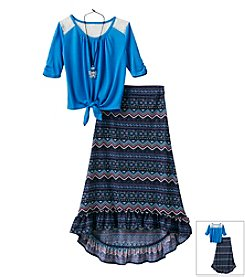 Beautees Girls' 7-16 Tie Front Top With Maxi Skirt