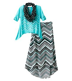 Beautees Girls' 7-16 Sharkbite Top With Maxi Skirt