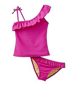 Jessica Simpson Girls' 7-16 Solid Ruffle Tankini Set